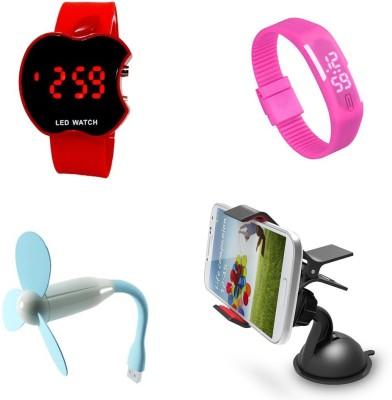 Bigkik Led Watch+ Usb Fan+ Mobile Holder Combo Set