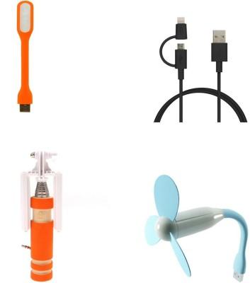 Bigkik MINI SELFIE STICK, 2IN1 CABLE, PORTABLE LED LAMP, USB FAN Combo Set