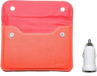 Chevron Pouch Cover Case For HCL ME Connect V2 With 2G Calling Tablet With USB Car Charger (Red) Combo Set (Red)