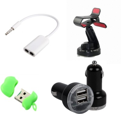 Bigkik Car Holder,Card Reader,Car Charger With 3.5mm Jack Audio Combo Set