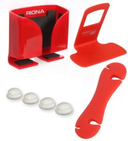 Riona 4 in 1 - Car Mobile Holder (Small) + Wall Mobile Holder + Cable Organizer + Scratch Guard Pads (A6SRC) Accessory Combo(Red) best price on Flipkart @ Rs. 349