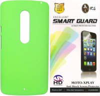 FCS FCS Rubberized Hard Back Cover Case with Anti Shock Screen Protector For Motorola Moto X Play Accessory Combo(Green)