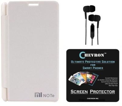 Chevron Flip Cover Case with Chevron HD Screen Guard & 3.5mm Stereo Earphones for Xiaomi Redmi Note Combo Set (White)