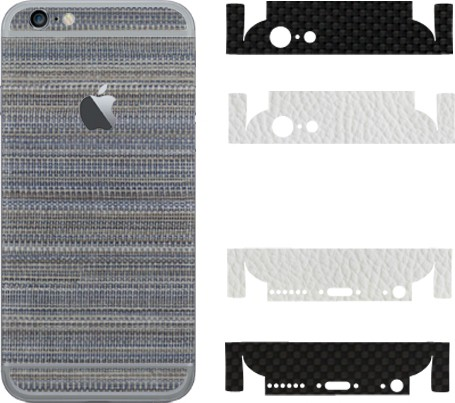 Robobull Flaunnt iPhone 6/6s Mobile Skin(Back-Woven Blue (Upper-New Carbon Black/Lower-Leather White))