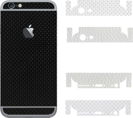 Robobull Flaunnt IPhone 6/6s Mobile Skin(Back-New Carbon Black (Upper-New Carbon White /Lower-Leather White))