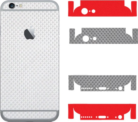 Robobull Flaunnt IPhone 6/6s Mobile Skin(Back-New Carbon White (Upper-New Carbon Gray /Lower-Solid Red))