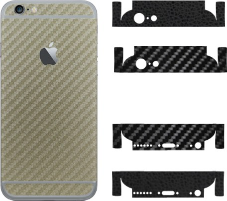 Robobull Flaunnt IPhone 6/6s Mobile Skin(Back-Carbon Gold (Upper-Carbon Black/Lower-Leather Black))