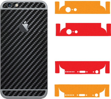 Robobull Flaunnt IPhone 6/6s Mobile Skin(Back-Carbon Black (Upper-Solid Red/Lower-Solid Orange))