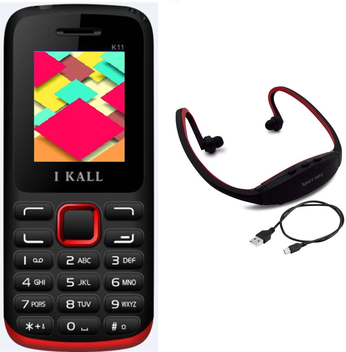 I Kall K11 with MP3/FM Player Neckband(Black & Red)