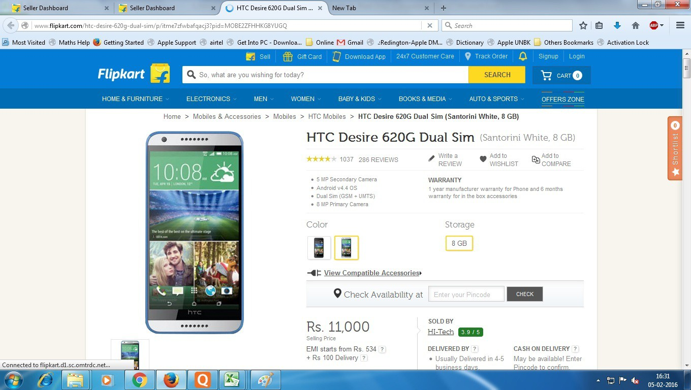 View HTC 620g Mobile Price Online(HTC)