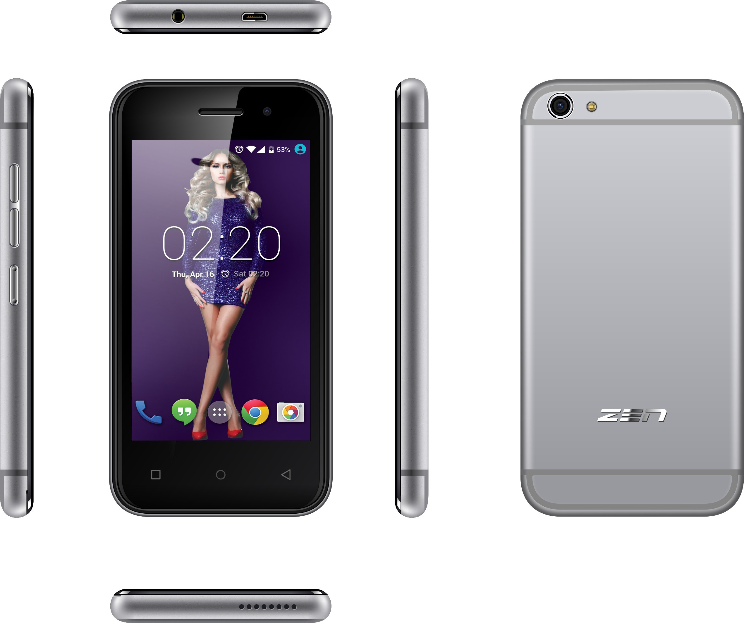 Zen Admire Curve (Space Grey, 4 GB)(512 MB RAM)
