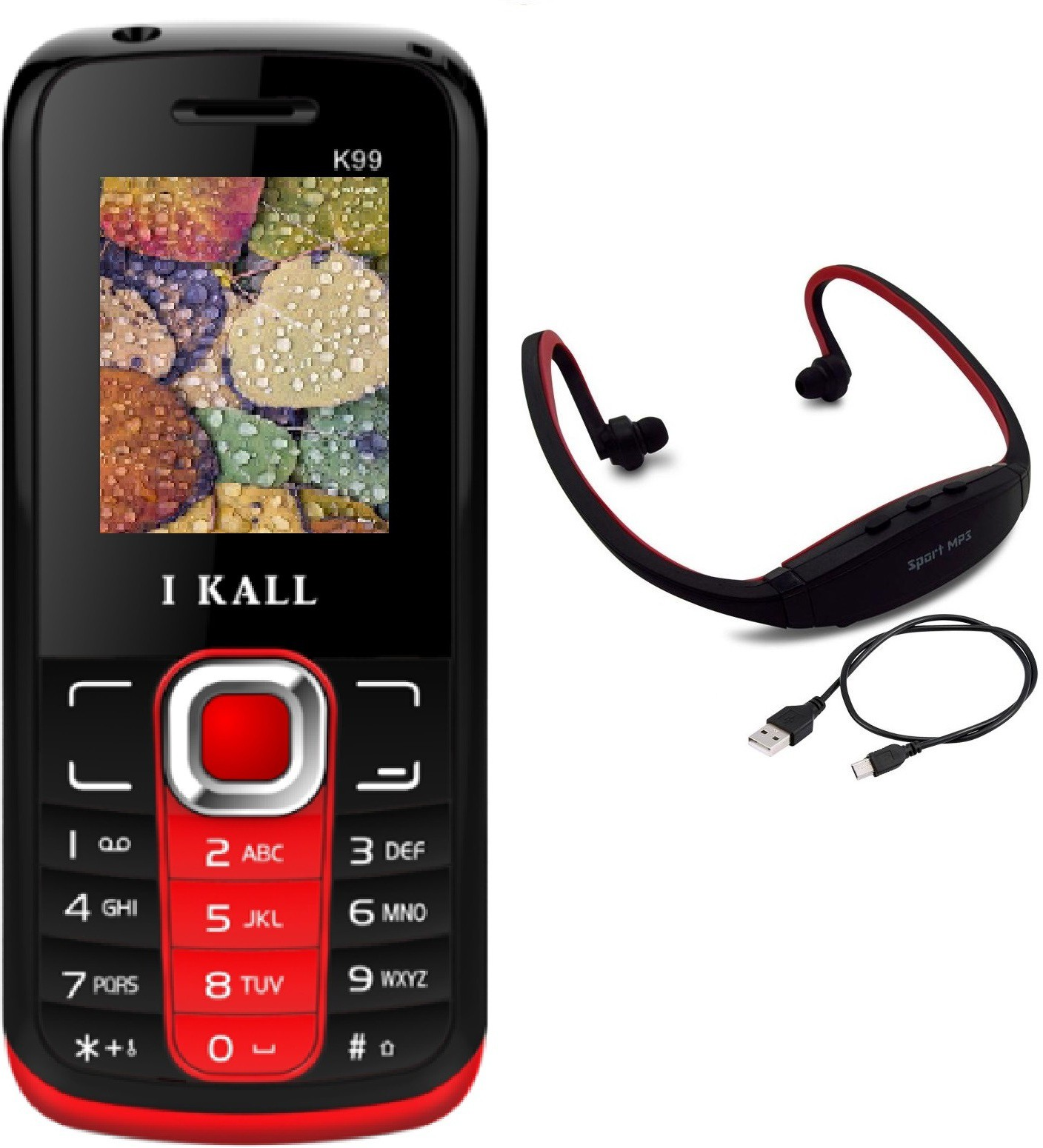 I Kall K99 with MP3/FM Player Neckband(Red & Black)
