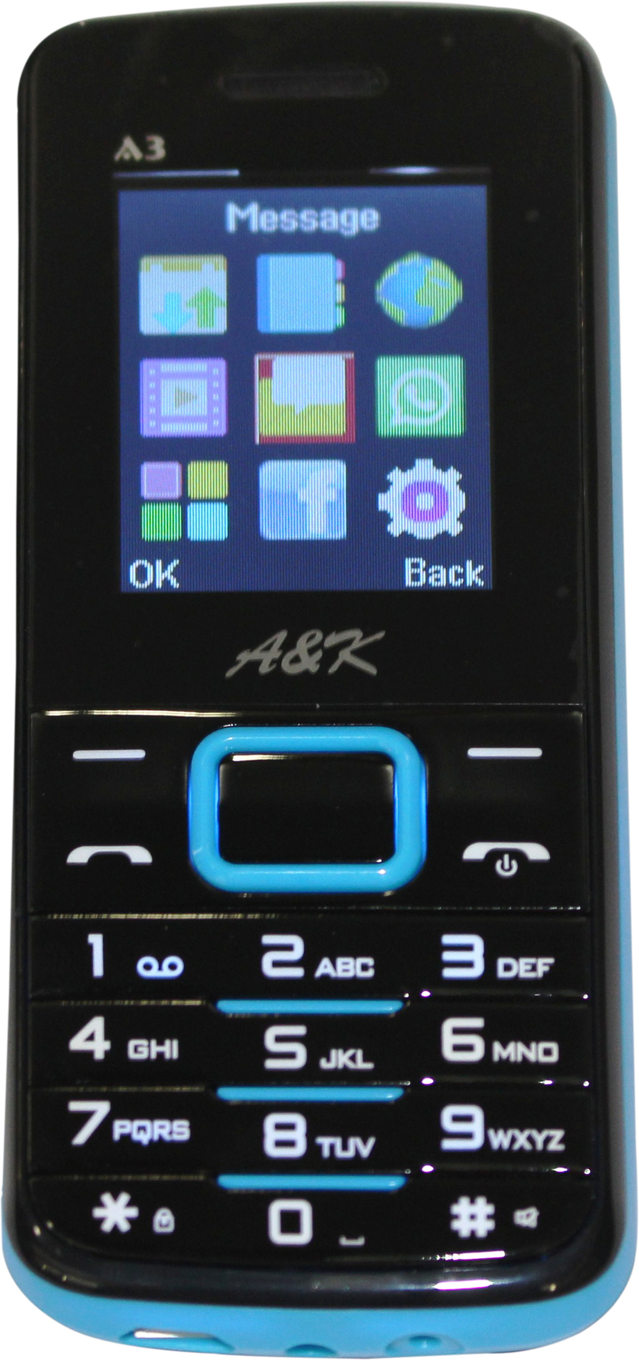A&K Bar Phone A 3(Black, Blue)