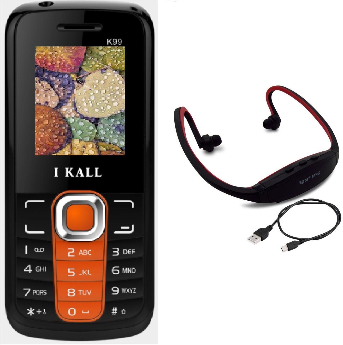 I Kall K99 with MP3/FM Player Neckband(Orange & Black)