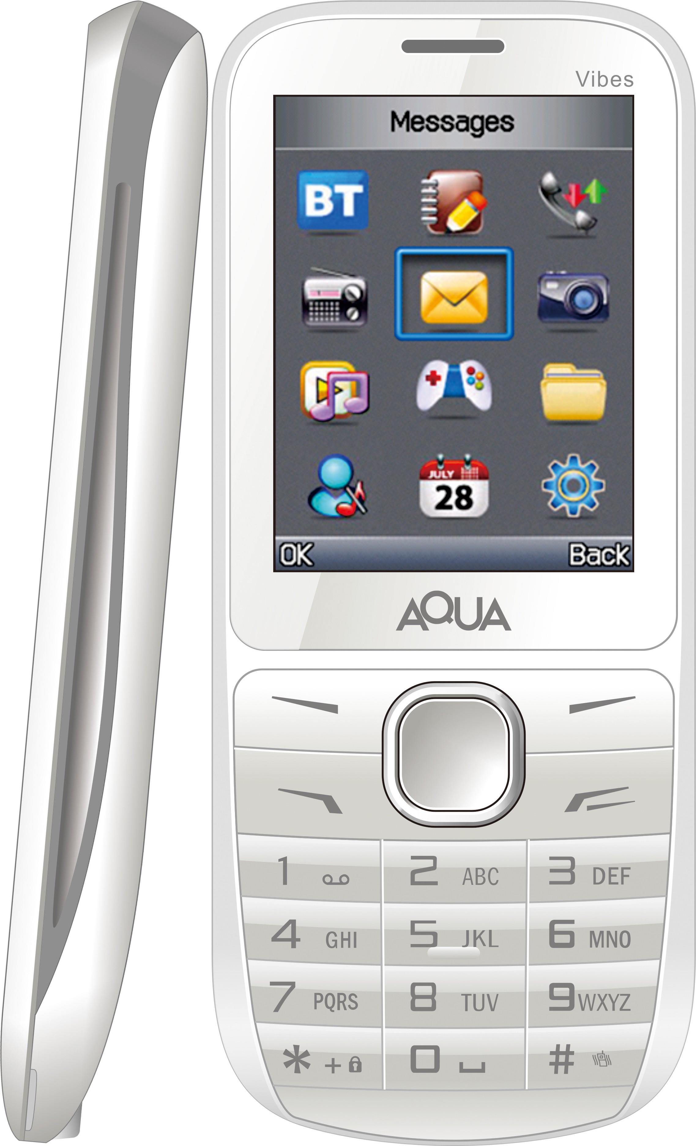Aqua Vibes - Dual SIM Basic Mobile Phone(White, Grey)