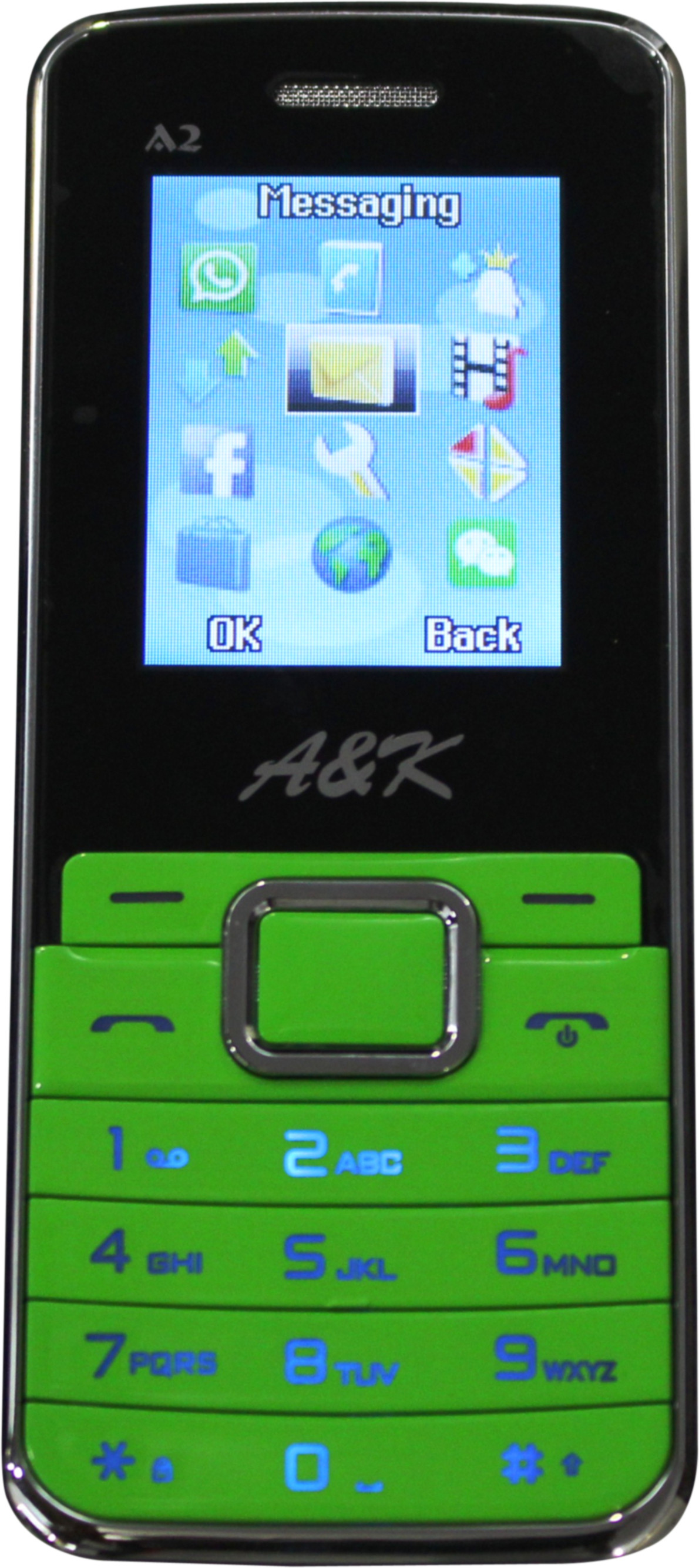 A&K Bar Phone A 2(Green, Black)