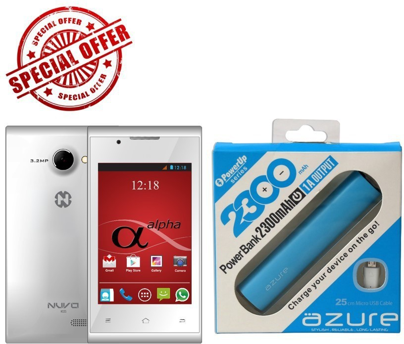 Nuvo alpha with free power bank (White, 4 GB)(512 MB RAM)