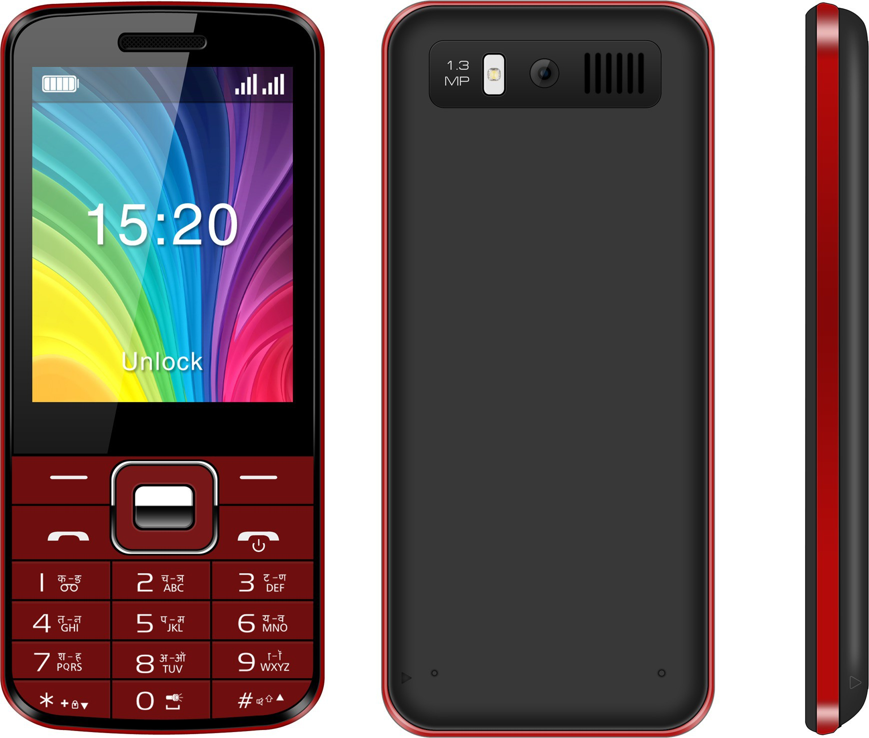 Videocon V3AB1(Black & Red)