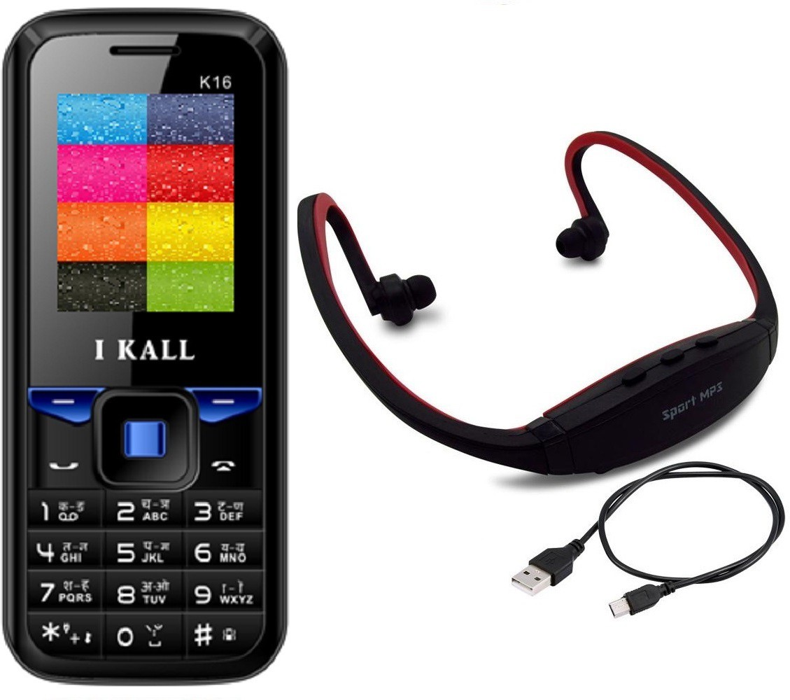 I Kall K16 with MP3/FM Player Neckband(Black & Blue)