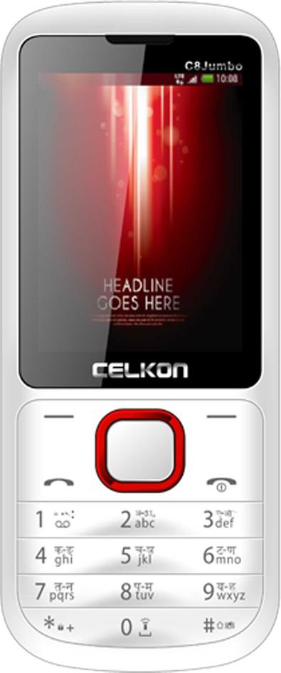 Celkon C8 Jumbo(White & Red)