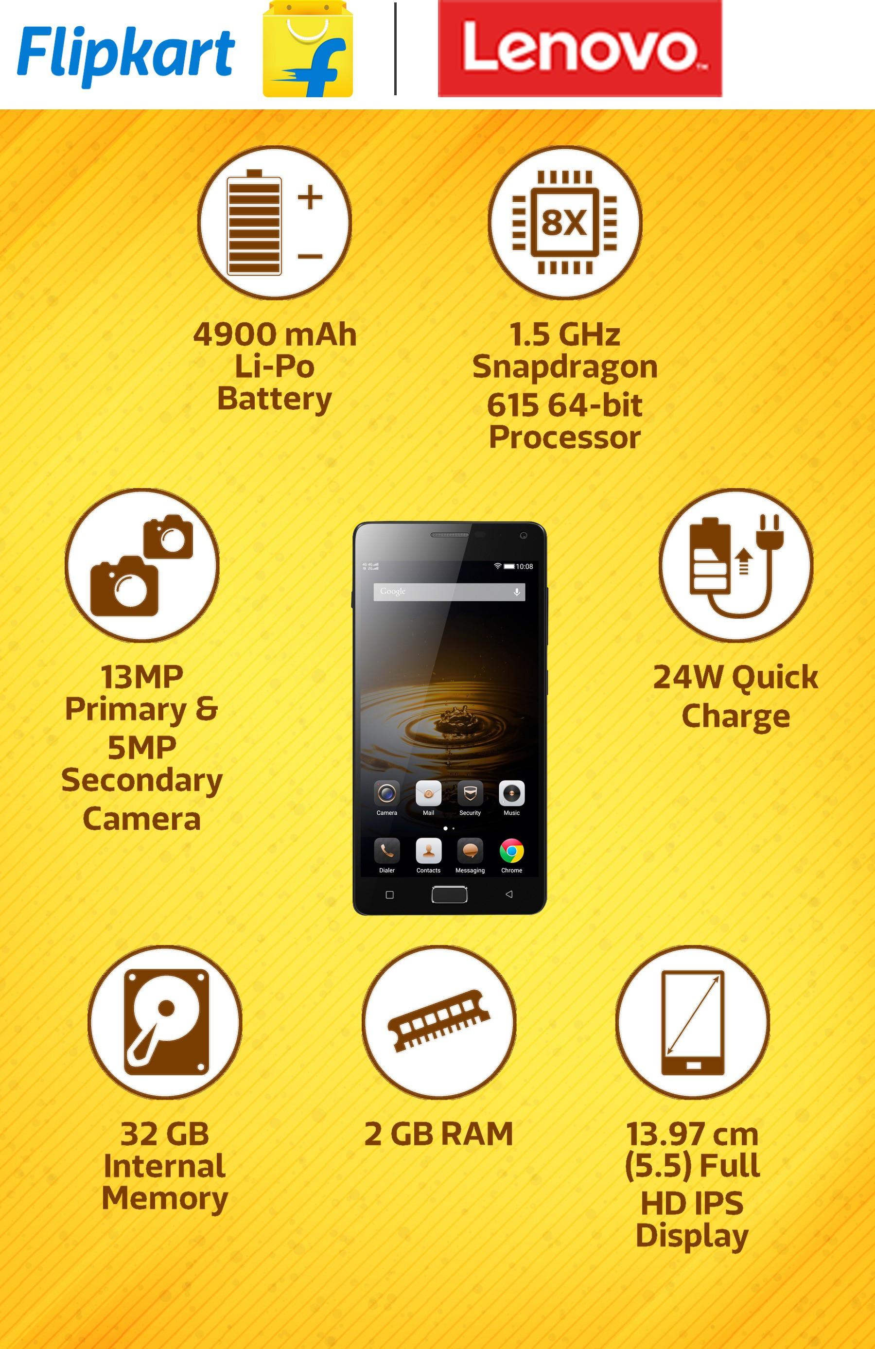 View Lenovo VIBE P1 (Grey, 32 GB)(2 GB RAM) Mobile Price Online(Lenovo)