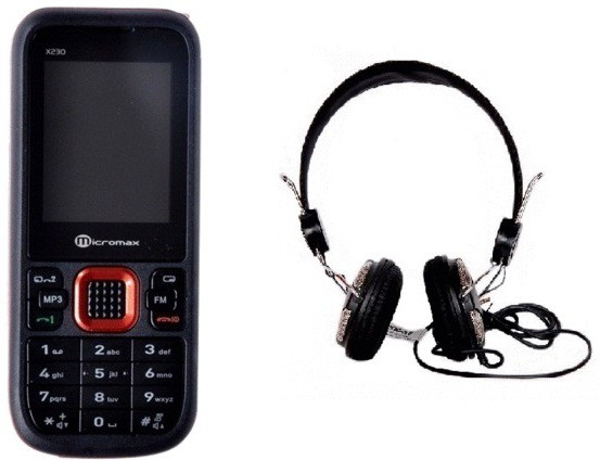 Micromax MMX X230 with Envent Headphone(Black)