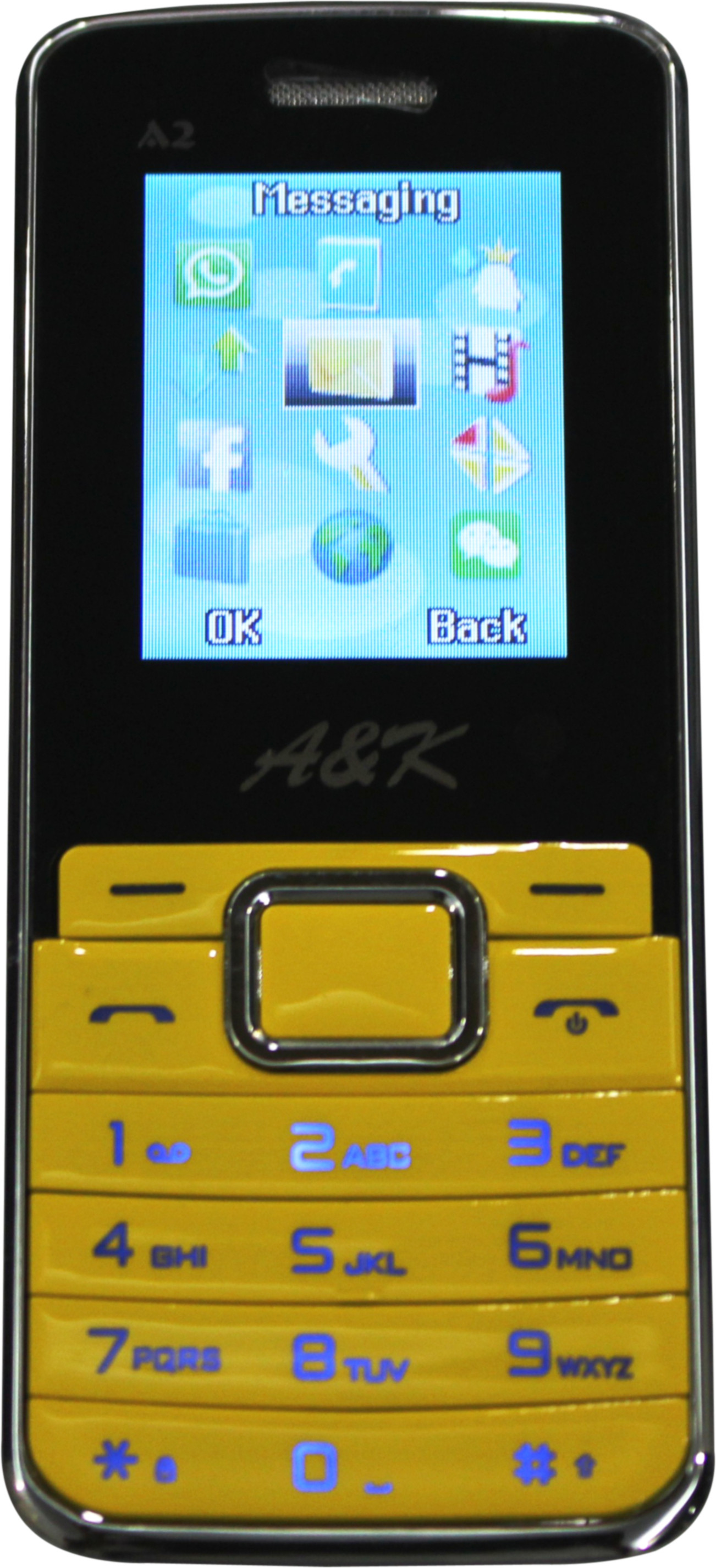 A&K Bar Phone A 2(Yellow, Black)