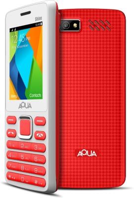 Aqua Shine - Dual SIM Basic Mobile Phone (White, Red, 32 MB)