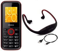 I Kall K18 with MP3/FM Player Neckband(Black & Red)