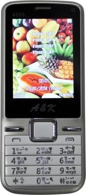A&K Bar Phone A 555 (Silver, White, 32 KB)