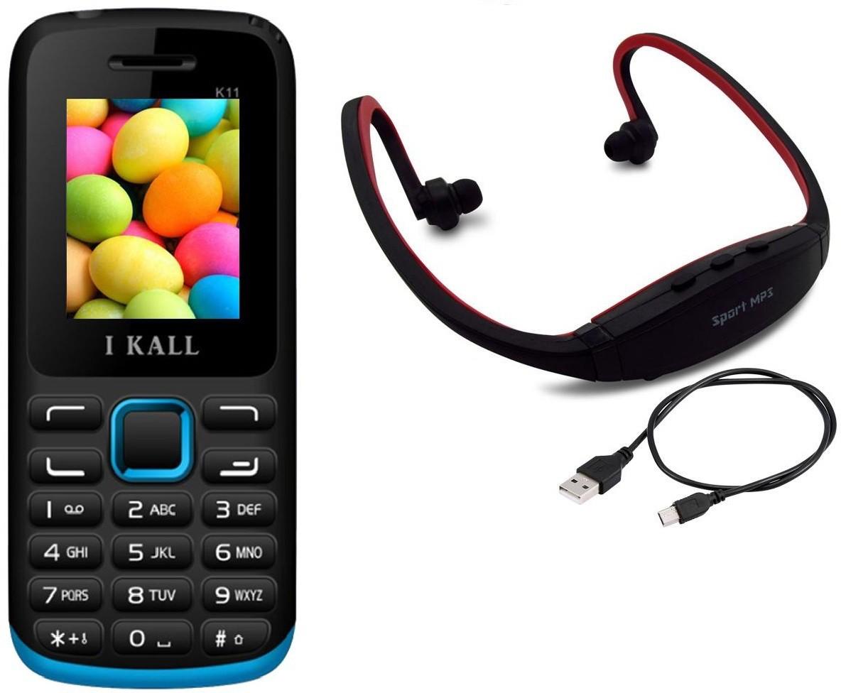 I Kall K11 with MP3/FM Player Neckband(Black & Blue)