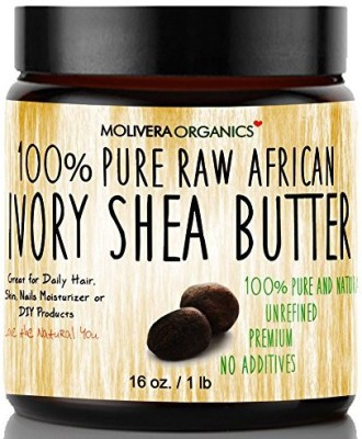 Molivera Organics Organics Raw African Organic Grade A Ivory Shea Butter for Natural Skin Care, Hair Care - 16 oz.