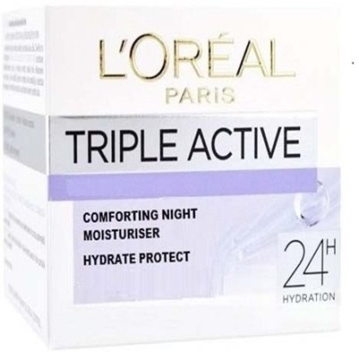 L,Oreal Paris Triple Active Comforting Night Moisturiser 24h hydration All Skin Types