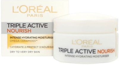 L,Oreal Paris Triple Active 24 Hydration Nourish Intense Moisturizer Very Dry Skin