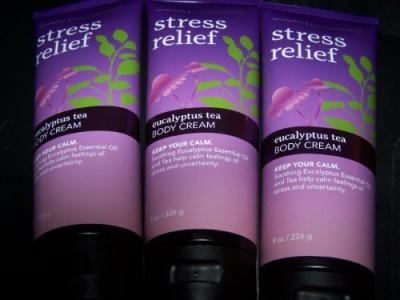 Bath & Body Works Lot of 3 Eucalyptus Tea Stress Relief Body Cream Each (Eucalyptus Tea)