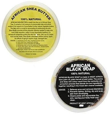 African Shea Butter 100% Natural & Black Soap Combo