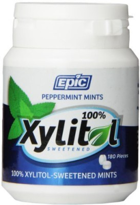 Epic Dental 00% Xylitol Sweetened Breath Mints, Peppermint, 80 Count