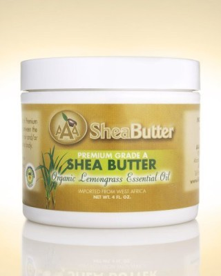 AAA Shea Butter 100% unrefined certified grade a shea butter with a hint of organic lemongrass essential oil 4 oz. by