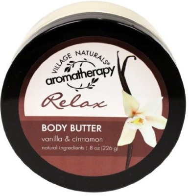 Village Naturals Aromatherapy Relax Body Butter, Vanilla and Cinnamon