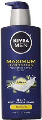 Nivea Men Maximum Hydration Lotion For Dry Skin, 3 In 1 Body, Face And Hands Sea Minerals