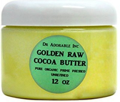 Dr Adorable COCOA BUTTER ORGANIC RAW Grade A PRIME PRESSED UNREFINED 12 OZ