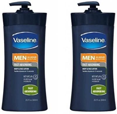 Vaseline Men Body and Face Lotion , Bottle(Pack of 2)