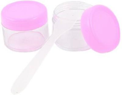 Rosallini 2 Pcs Pink Clear Plastic Round Empty Lotion Cream Cosmetic Jar