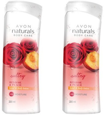 Avon Red Rose & Peach Hand & Body Lotion (Set Of 2 Of 200 Ml Each)