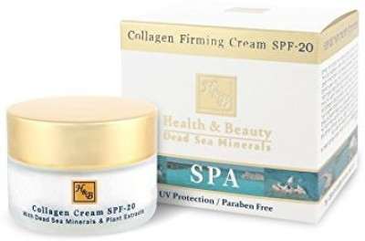 H&B Health & Beauty Collagen Firming Cream SPF-20 + vitamins A, C, E and active Dead Sea minerals.