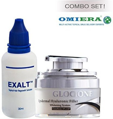 Omiera age defying facial skin care firming and tightening cream glocione (1.0 fl. oz.)+ hair loss treatment hair growth serum exalt (1.0 fl. oz.) anti aging products by labs at flipkart