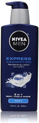 Nivea Men Men Express Absorption 3 in 1 Revitalizing Lotion 16.9 Fluid Ounce(499.733 ml)