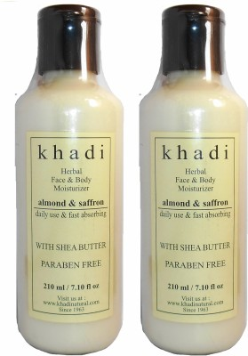 khadi Natural Herbal Face & Body Moisturizer - Almond & Saffron with Shea Butter & Paraben Free (Pack of 2)