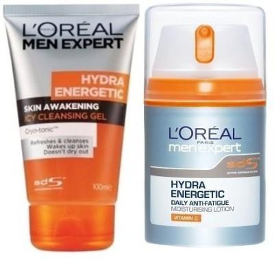 L,Oreal Paris Men Experts Hydra Energetic Moisturiser + Skin Awakening Icy Cleansing Gel