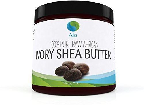 ALO - African Raw Unrefined Shea Butter - Natural Skin and Hair Moisturizer - Perfect for DIY facial moisturizing lotions, bath pearls and flakes, soap, shampoo and hair conditioner - Look and feel young with a healthier glowing hair and skin(28 g)
